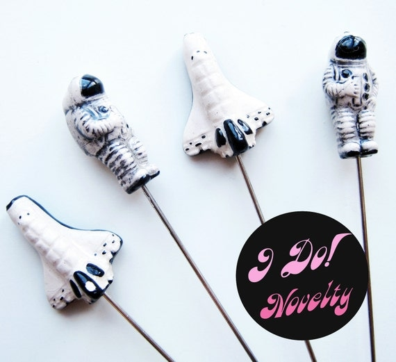 Astronaut - Space Shuttle - Stick Pins - Corsage Pins - Lapel Pins - Boutonniere Pins - Sci Fi Wedding