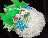 Cupcake Over the Top, Boutique Hairbow, Lime Green, Turquoise, Photo Prop for Baby, Baby Headband, Zebra, Polkadots