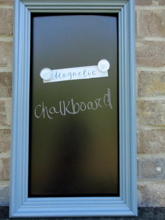 Slate Blue Magnetic Framed Chalkboard - Wooden Frame - Shabby Chic - Bedroom, Kitchen, Office, Nursery, Wedding