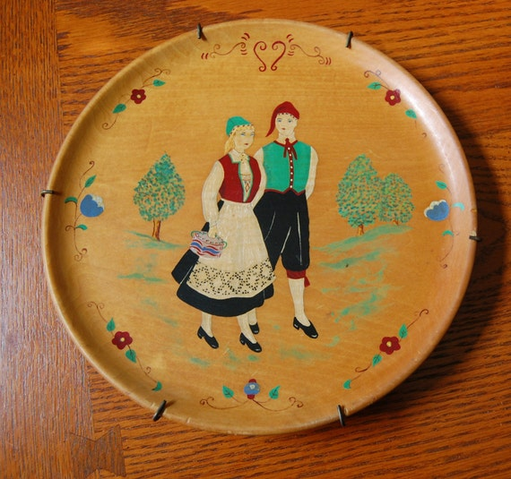 On Reserve: Norwegian Couple Hand Painted Wood Plate Wall Decor