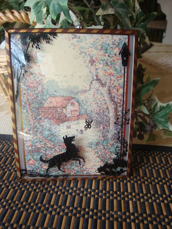 Vintage Reverse Painted Convex Glass Silhouette with Dog