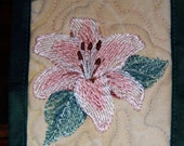 Lovely Lily Petite Quilted Wall Hanging, Magnolia fabric set Stargazer Lily, Wire hanger
