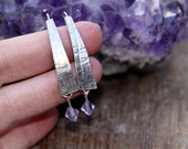 the Palest of Blue Crystals hang from Textured Sterling Silver Earrings.  (( FREE SHIPPING ))5604