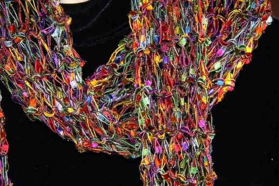 SALE w Free Ship ) Sparkling Multi-Colored Double Strand Knit Scarf by Inspirational Designs Scarves