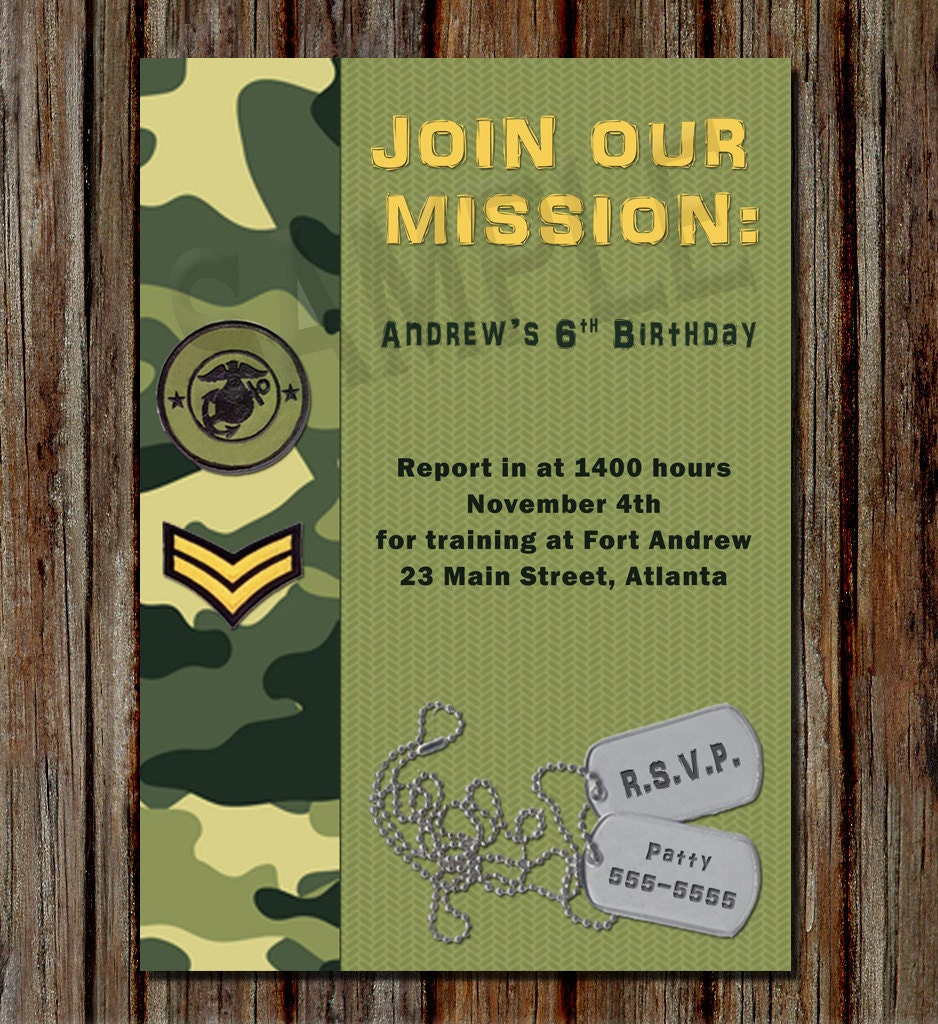 Army Birthday Invitation Personalized 4x6 by CCGDigitalDesigns