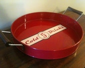 Vintage Red Serving Tray: Perfect for Summer Cookouts