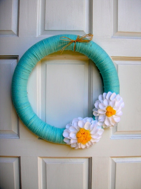 Handmade Spring Wreath with Turquoise Yarn and white and yellow felt flowers