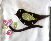Bird On Branch Iron On Applique