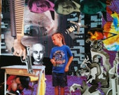 Collage art: Nascar Kid for Reagans. Dr holding Ronald Reagans, how can you go wrong.
