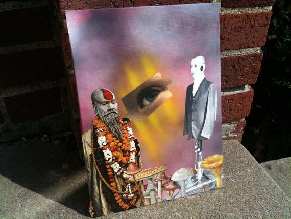 Mixed media collage. The holy man and the robot man.