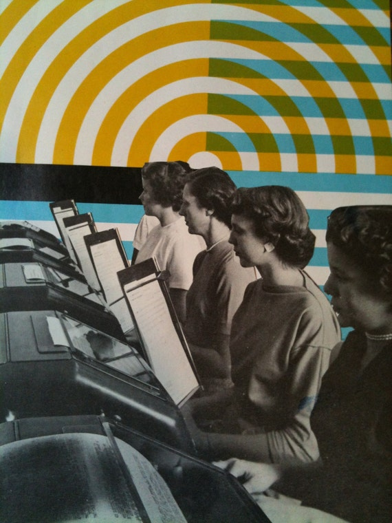 Paper collage. Office ladies doing something in front of some rings and bars and arrows. People like arrows, right