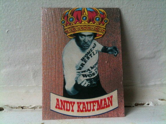 ACEO mixed media collage art. Andy Kaufman no 2. Andy is King.