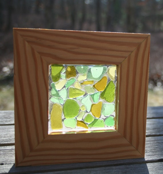 Natural find small to medium green and citron sea glass, framed in a re-milled fir door jamb from Martha's Vineyard