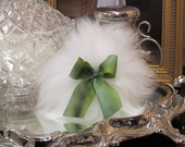 Handmade Wool Powder Puff with hand dyed variegated Green Silk ribbon