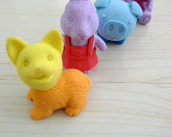 4 friends eraser, rubber, toy, stationary, miniature, home decor - we are in wonderland