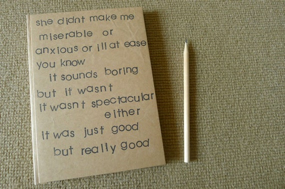 handmade notebook, diary, indy journal, eco friendle sketch book, recycled paper, rubber stamp from the movie's quote  - it was just good