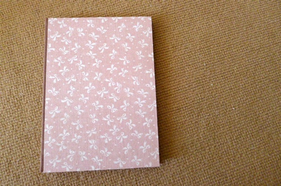 handmade notebook, diary, journal, sketch book, scrapbook, fabric cover in brown and pink with tiny white bow - sweet