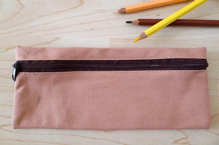 Plain Canvas Zipper Pencil Case Pencil Pouch Pencil By