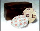 Set of 2 Button Magnets - Retro Green/Red and Stone/Brown Quatrefoils, father's day gift