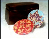 Set of 2 Button Magnets - Retro Red and Blue, Father's day gift