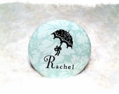 Personalized Pocket Mirror - retro blue floral, teal, leaf, umbrella, baby shower, bridal shower