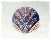 Fabric Pocket Mirror - Daphne, blue, red, vanilla, navy, floral, ornament, mediterranean textile design, vintage