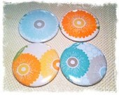 May Special - Button Magnets - Set of 4, Mother's Day gift, mom, flower, blue, orange, gray, teal, white, peach, green, soft pastel color