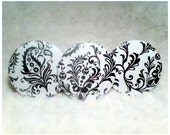 Button Magnets - set of 3, black and white, damask, ornament, flower, leaf, high fashion