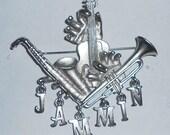 JAMMIN Musical Instruments Brooch Pin / FREE SHIPPING