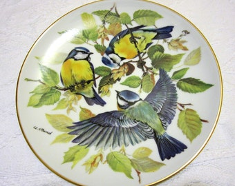 "Blue Titmouse, WWF Songbird Plate, ""Blaumeise"" by Ursula Band 1985"