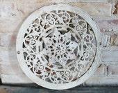Ornate Antique Cast Iron Register Grate / Industrial Chic Decor