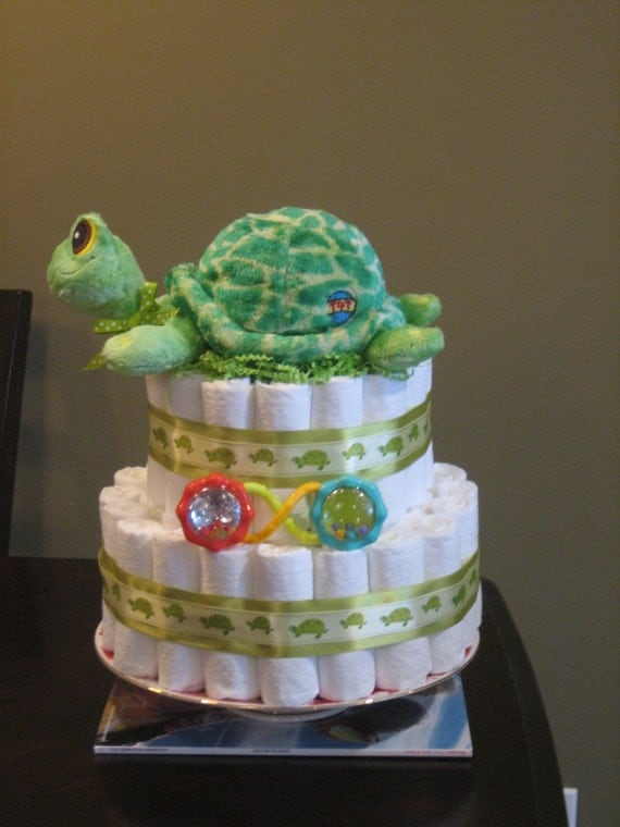 Sea Turtle Neutral Green Diaper Cake for Baby Shower - photo#18