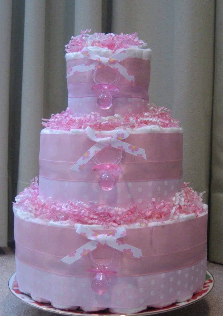 Pink Baby Girl Diaper Cake For Baby Shower Centerpiece Or New