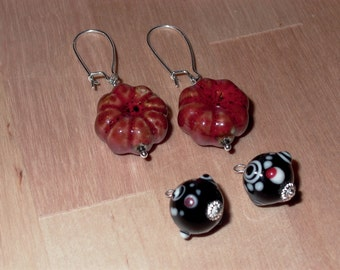 Interchangeable Earrings Red Porcelian and Black Murano Glass