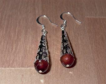 Fire Agate Cone  Earrings