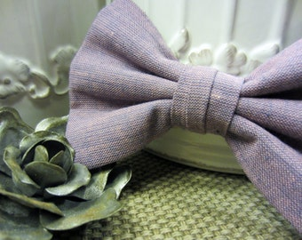 Lilac Linen Textured - Boys Bow Tie - Free Shipping - Lavender Linen Textured Boys Bow Tie