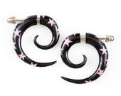 """SALE! 50% DISCOUNT! Fake Gauge Earrings - Horn Spiral Earrings with Pink Star Fake Piercing - Horn Earrings """"Pink Star Spirals"""" - Handmade"""