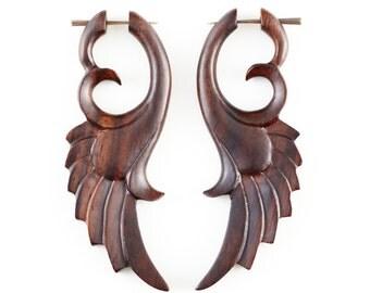 """Angel Wing Earrings-Fake Gauge Earrings-Wood Earrings Fake Piercing-Sono Wood """"Angel Wing"""" Earrings-SUPER SALE-Hippie Boho Tribal Jewelry"""