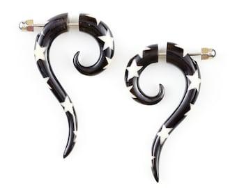 "Fake Gauge Earrings - Horn Earrings with Star Inlay Fake Piercing - Horn ""Starred Cat Tails"" Earrings - Organic Handmade Hippie Boho Jewelry"