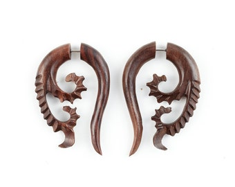 "Fake Gauge Earrings - Wood Earrings Tribal Fake Piercing - Sono Wood ""Spawning Vines"" Earrings - SUPER SALE"