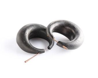 "Fake Gauge Earrings - Wooden Fake Piercing - Organic Palm Wood ""Mighty Stirrup"" Earrings - Dangle Earrings - Wood Earrings"
