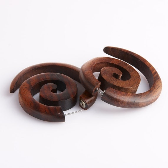 "Fake Gauge Earrings - Wood Earrings Fake Piercing  - Push Back ""Infinities"" Sono Wood Earrings - Hippy Boho Fake Plugs Wood Body Piercing"