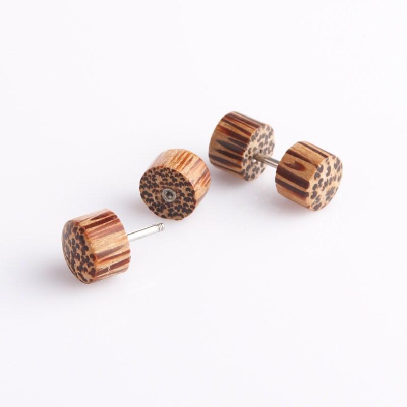 earrings coconut wood tribal plugs by noholesbarred