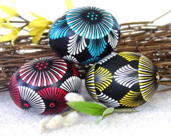 Set of 3 Decorated Chicken Eggs, Original Artwork of  Award-Winning Traditional Easter Eggs, Easter Eggs Pysanky