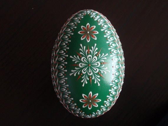 Goose Egg Pysanka, Wax Embossed Pinhead Drop-Pull Method Decorated Easter Egg