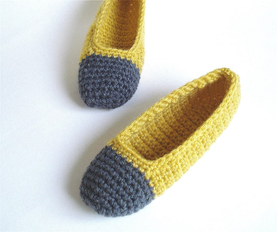 Ballet Slippers Crocheted in Mustard and Charcoal - MADE TO ORDER