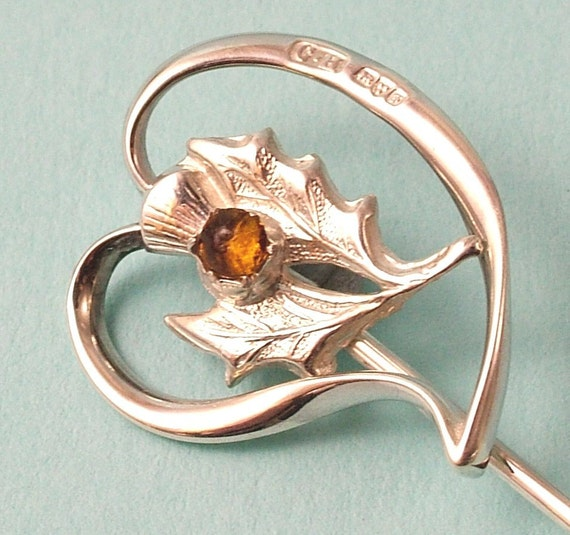 SOLD - Antique Edwardian Charles Horner sterling silver heart/ thistle pin - Chester 1906