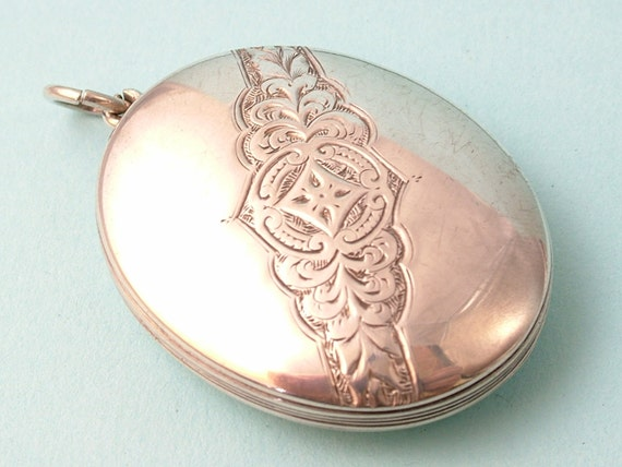 Antique Victorian 1800s, sterling silver, hand engraved locket