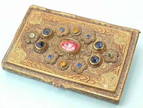 SOLD - Antique Edwardian Art Nouveau, Czech style, paste card case