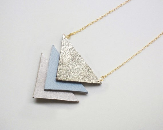 Hit my heart with your arrow - leather necklace or brooch in pale blue & pink - free shipping